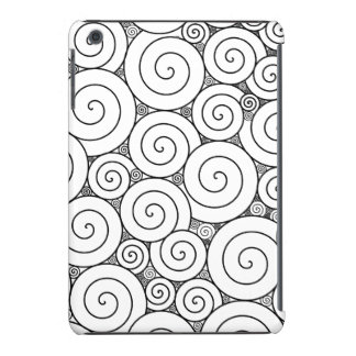Espirales negros y blancos geométricos apacibles fundas de iPad mini