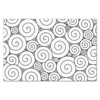 Espirales negros y blancos geométricos apacibles papel de seda pequeño