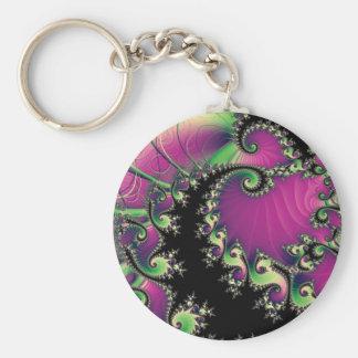 Espirales púrpuras y negros del fractal llaveros