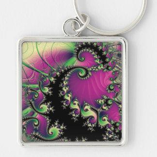 Espirales púrpuras y negros del fractal llavero personalizado