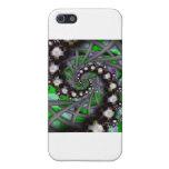 Espirales verdes de la esfera iPhone 5 carcasas