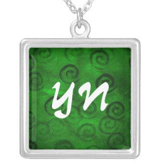 Espirales verdes festivos colgante cuadrado