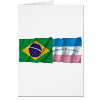 Espírito Santo & Brazil Waving Flags Card