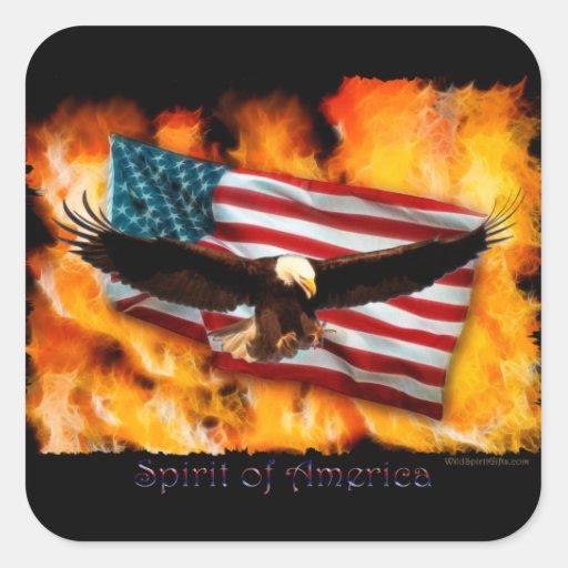 Espíritu de América Eagle y arte patriótico de la Pegatina Cuadrada