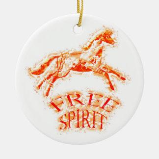 Espíritu libre adorno navideño redondo de cerámica