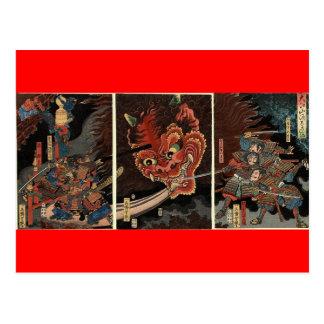 Espíritu maligno que lucha del samurai circa 1860 tarjeta postal
