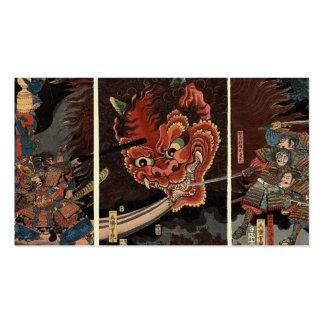 Espíritu maligno que lucha del samurai circa 1860. tarjetas de visita