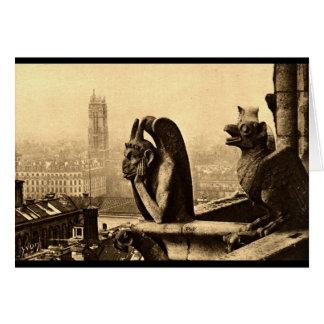 Espíritu necrófago Notre Dame, vintage 1912 de Par Tarjeta De Felicitación