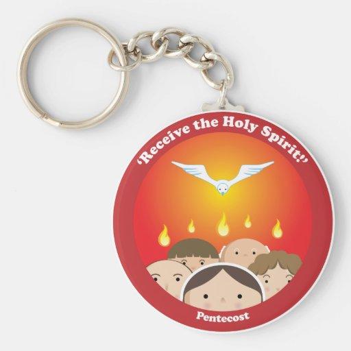 Espíritu Santo Pentecost Llavero Redondo Tipo Pin