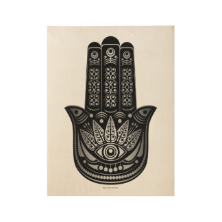Espiritual del mal de ojo de la plata de la mano póster de madera