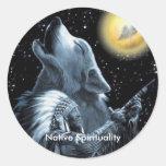 Espiritualidad nativa etiqueta redonda