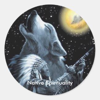 Espiritualidad nativa pegatina redonda
