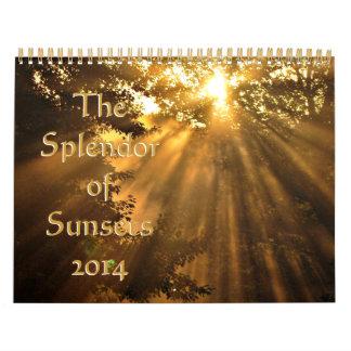 Esplendor 2014 de puestas del sol calendario de pared