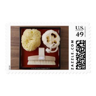 Esponja, loofah, cepillo en la bandeja roja sello postal