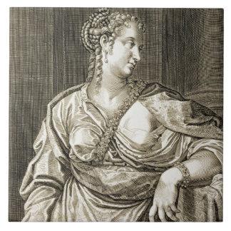 Esposa de Agrippina de Tiberius (grabado) Azulejo Cuadrado Grande