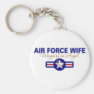 Esposa de la fuerza aérea, alas de un ángel llavero redondo tipo pin