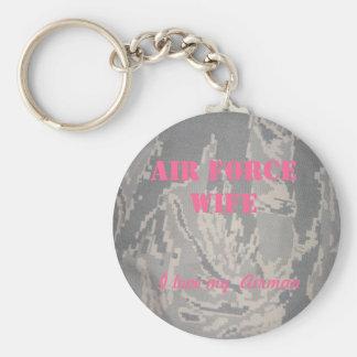 Esposa de la fuerza aérea, amo a mi aviador llavero redondo tipo pin