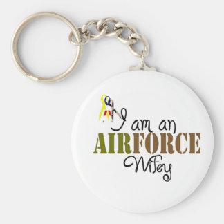 esposa de la fuerza aérea llavero redondo tipo pin