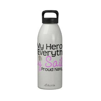 Esposa de la marina de guerra mi héroe botella de agua reutilizable