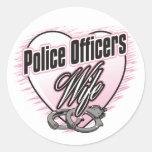 Esposa de los oficiales de policía pegatina redonda