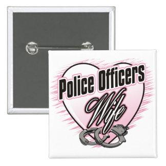 Esposa de los oficiales de policía pin cuadrada 5 cm