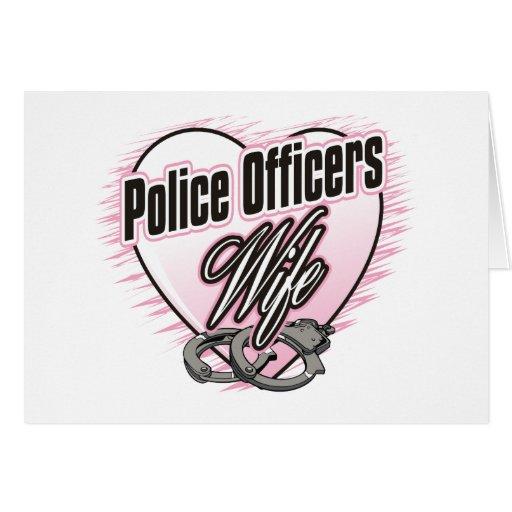 Esposa de los oficiales de policía tarjeta de felicitación