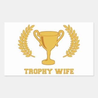 Esposa de oro feliz del trofeo pegatina rectangular