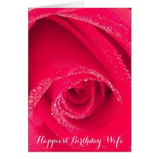Esposa del cumpleaños más feliz tarjeta de felicitación