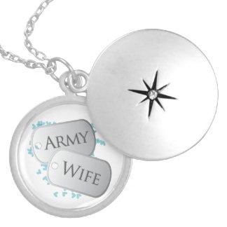 Esposa del ejército de las placas de collar plateado