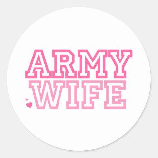 Esposa del ejército (rosa) etiqueta redonda