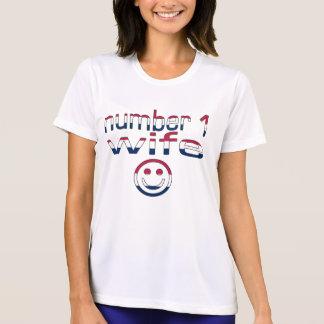 Esposa del número 1 en colores de la bandera camisetas