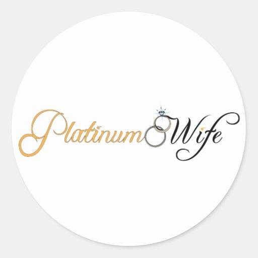Esposa del platino etiqueta redonda