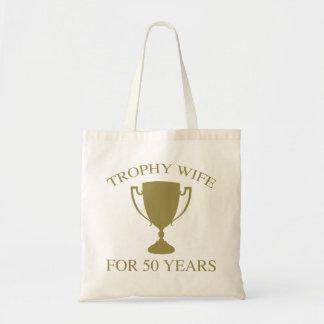 Esposa del trofeo por 50 años bolsa tela barata
