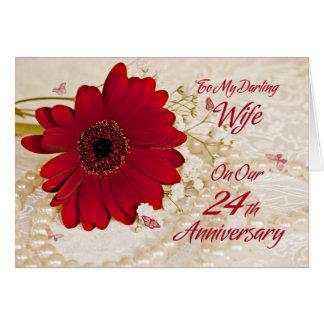 Esposa en el 24to aniversario de boda una flor de felicitaciones