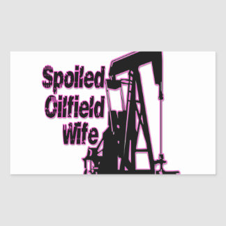 Esposa estropeada rosa del campo petrolífero pegatina rectangular