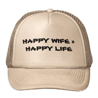 Esposa feliz = vida feliz gorros bordados