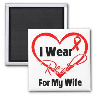 Esposa - llevo una cinta roja del corazón imán cuadrado