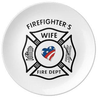Esposa los E.E.U.U. de los bomberos Platos De Cerámica