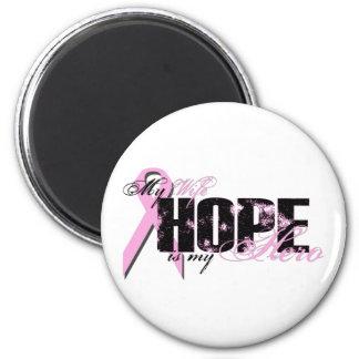 Esposa mi héroe - esperanza del cáncer de pecho imán redondo 5 cm