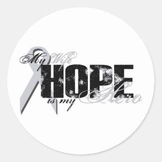 Esposa mi héroe - esperanza del pulmón pegatina redonda