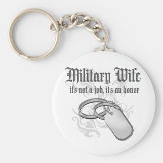 Esposa militar orgullosa llavero redondo tipo pin