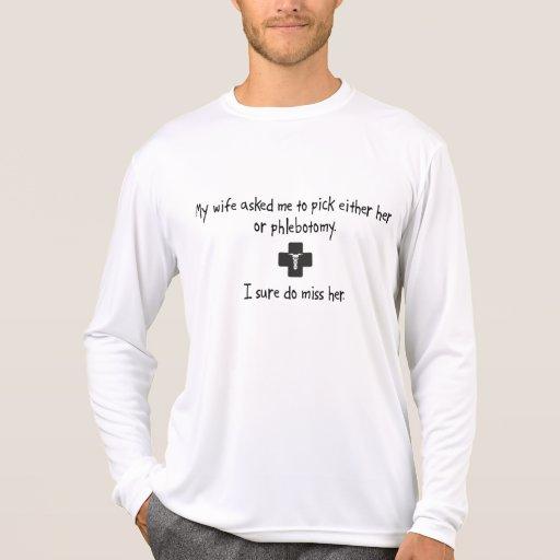 Esposa o flebotomía de la selección camisetas