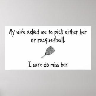 Esposa o Racquetball de la selección Impresiones
