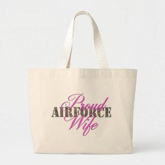 esposa orgullosa de la fuerza aérea bolsa tela grande