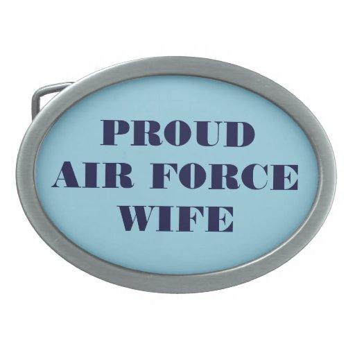 Esposa orgullosa de la fuerza aérea de la hebilla  hebillas cinturon ovales