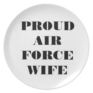 Esposa orgullosa de la fuerza aérea de la placa plato para fiesta