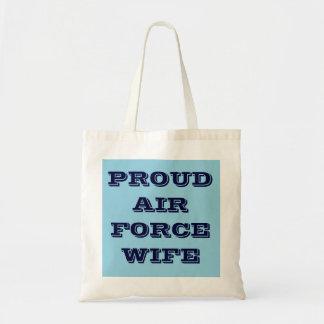 Esposa orgullosa de la fuerza aérea del bolso bolsa