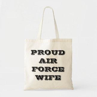 Esposa orgullosa de la fuerza aérea del bolso bolsa de mano