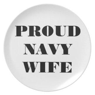 Esposa orgullosa de la marina de guerra de la plac plato de comida