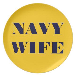 Esposa orgullosa de la marina de guerra de la plac plato para fiesta